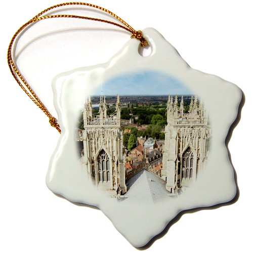 3dRose ORN_139875_1 York Minster, Cathedral, North Yorkshire, England Eu33 Mgl0003 Miva Stock Snowflake Ornament, Porcelain, 3-Inch
