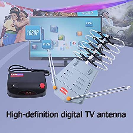 eegwbang 150 Miles HDTV Outdoor Amplified Aerial HD TV 36dB ...