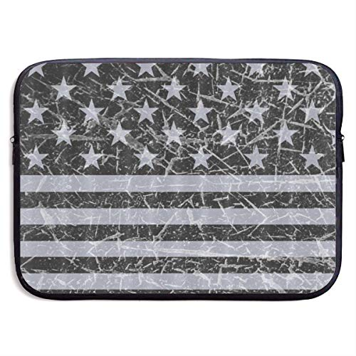 LiaanQianga Retro Distressed USA Flag Patriotic 13-15 Inch Laptop Sleeve Bag - Tablet Clutch Carrying Case,Water Resistant, Black