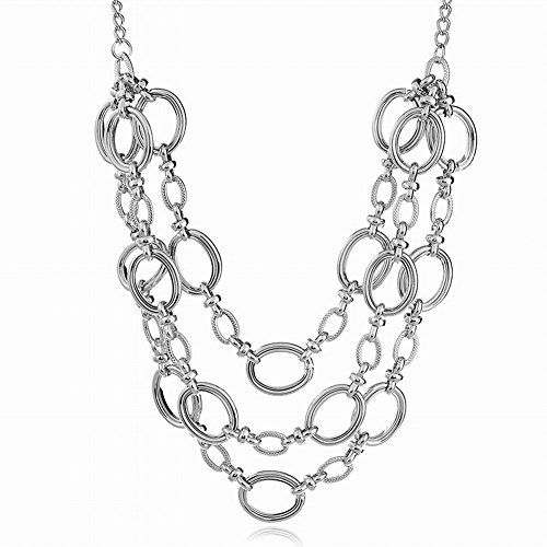 Hammered Oval Link Chain - Paialco Jewelry Handmade Style Multilayer Oval Link Chains Statement Necklace for Women 20~22 Inches