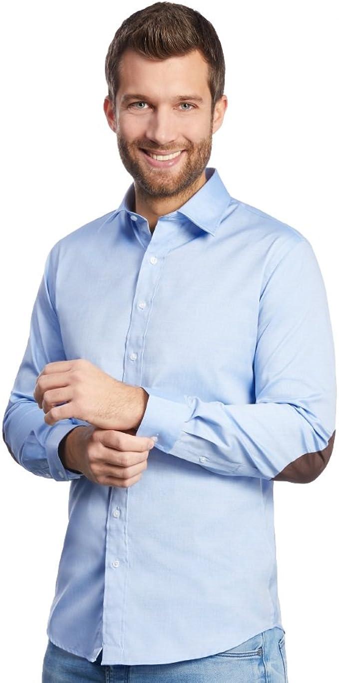 ALLBOW Elbow-Patches Camisa para Hombre, Slim Fit con Parches en ...