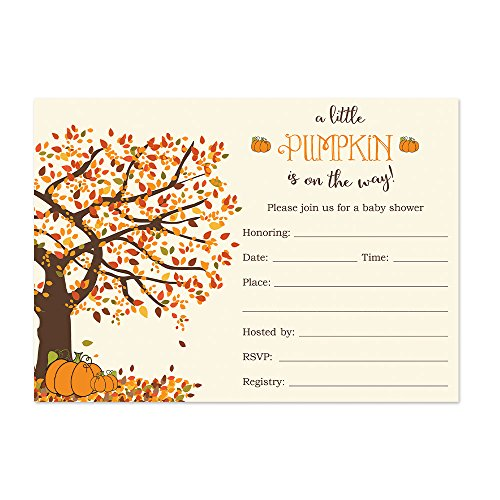 Party Printery Pumpkin Baby Shower Invitations Fill in Style 20 Count with Envelopes - Fall Baby Shower - Invitations Shower Baby Pumpkin
