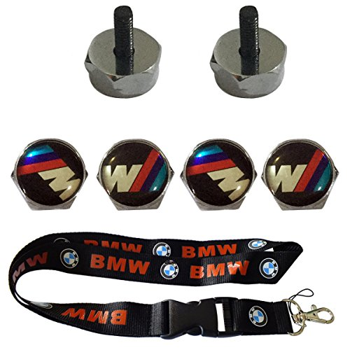 Mtech Frame (New 1pcs BMW Keychain Lanyard Badge Holder + 4pcs set Chrome Metal M-Tech Sports Style Car License Plate Frame Bolt Screws For BMW)