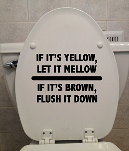 YINGKAI Funny Bathroom Toilet Decal If It's Yellow, Let It Mellow. Toilet Seat Decal Vinyl Carving Decal Sticker for Toilet Decoration (Yellow Seat Vinyl)