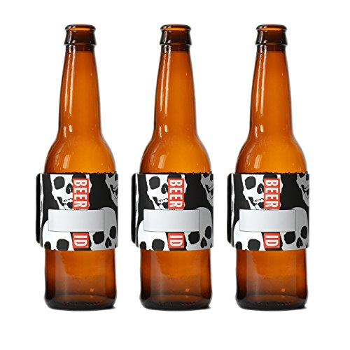 H2O ID BANDS: Introduces BEER ID SKULL PRINT 3 PACK REUSABLE ID BANDS PERSONALIZE & LABEL WATER BOTTLES, REUSABLE BOTTLES & CUPS, SPORTS DRINKS, ENERGY DRINKS, COCKTAILS, AND BEER]()