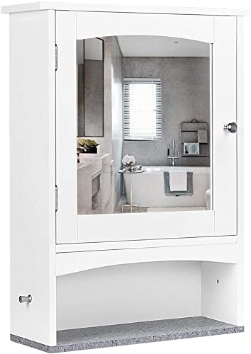 Yaheetech Bathroom Mirror Cabinet, Wall Mounted Storage Organizer with Adjustable Shelf in 3 Positions and Faux Marble Grain Bottom Shelf, 18.3 x 6.3 x 24.6 Inches