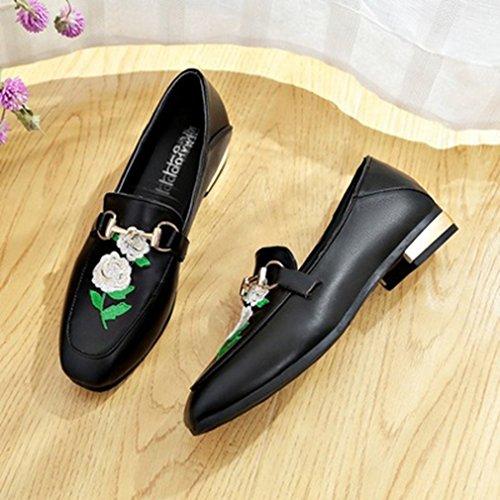 Dames Klassieke Penny Loafers Gesp Vierkante Teen Instapper Borduurwerk Casual Jurk Loafer Oxford Schoenen Zwart