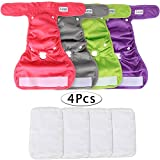 Luxja Reusable Female Dog Diapers with Extra Detachable Diaper Pads (Pack of 4)