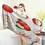Anhounine Bath Pool Shower Towel for Kids Sweet Decor Yummy Chopped Apple Slices Juicy Fresh Fruits Delicious Nature Illustration Bathroom Towels 63''x31.5'' Cream Scarlet