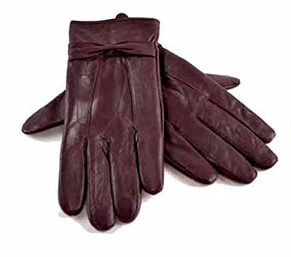 5da918cc8a0bb Ladies Warm Lined Sheepskin Leather Gloves With Bow Winter Outdoor  Accessory: Amazon.co.uk: Clothing