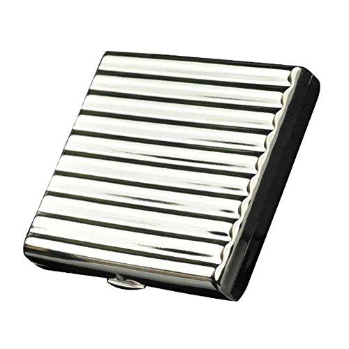 Single Sided Cigarette Case Holds - NACHEN Copper Cigarette Cases Holder Box Holds 20 Cigarettes,Silver