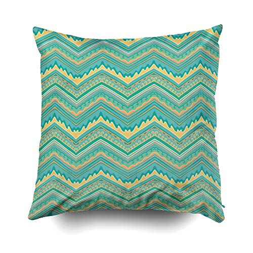 - GROOTEY Christmas Decorative Square Pillow Case Covers with Zippered Closing for Home Sofa Decor Size 18X18 Inch Costom Pillowcse Throw Cover Cushion Green Yellow Zigzag Pattern
