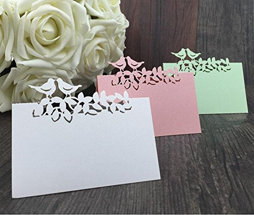 Sorive 50x Love birds animals cute party favors supplies wedding decoration Laser Cut Party Table Name Place Cards (Pink)