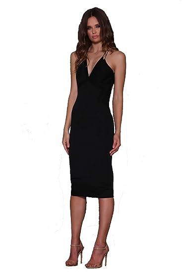 Elle Zeitoune Sonata Black Mesh Detail Low Back Cocktail Dress UK 6 (US 2): Amazon.co.uk: Clothing