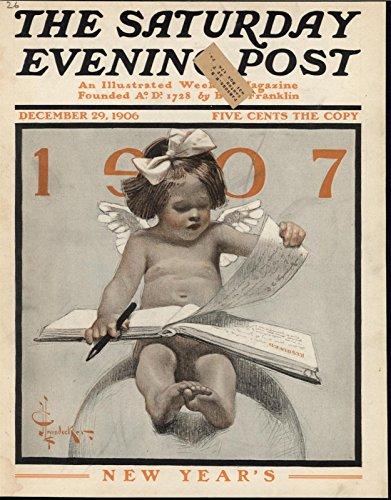 New Cherub - Baby New Year Cherub Reading Adorable 1906 antique historic color print