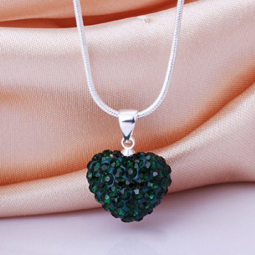 CY-Buity Shambhala Style Elegant Love Heart Shape Crystal Pendant Necklace Chains for Girls Dark Green