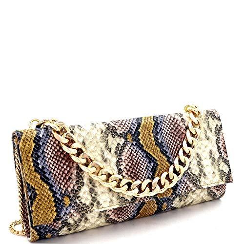 Chain Multicolored Snake Crocodile Print Long Party Clutch Purse Shoulder Bag