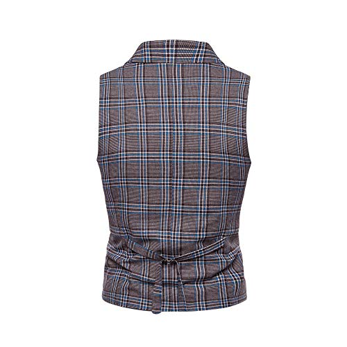 SMALLE ◕‿◕ Clearance,Men Plaid Casual Printed Sleeveless Jacket Coat British Suit Vest Blouse by SMALLE (Image #4)