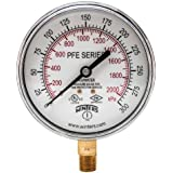 "Winters PFE Series Dual Scale Sprinkler Pressure Gauge, 3-1/2"" Dial, 0-300 psi/kPa Range, +/-3-2-3% Accuracy, 1/4"" Male NPT Bottom Connection, For Air/Water Media"