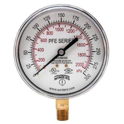 (Winters PFE Series Dual Scale Sprinkler Pressure Gauge, 3-1/2