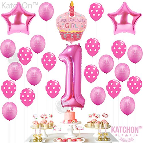 1st Birthday Girl Balloons Set - BONUS - Printable Party Planner and Checklists Included - Perfect for Your Daughter's First Birthday -
