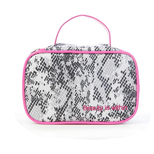 (Miamica Inner Beauty 2 Piece Black and White Python Design with Pink Trim Travel Cosmetic Case Make-up Beauty Toiletry Bag)