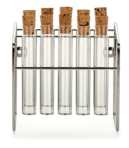 Spice Rack - Glass Spice Test Tube Set 10 Tubes + Chrome Rack (Large Image)