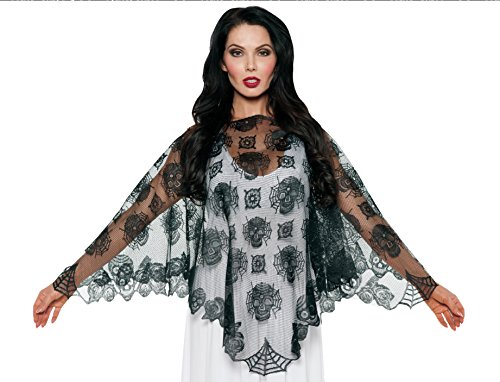 [Women's Day of the Dead Lace Poncho - Dia de los Muertos accessories] (Traditional Costumes For Day Of The Dead)