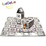 """LACALA Children/Kids/Baby Puzzle Play Mat,36pcs White Grey,Train,Numbers,Letters/alphabets70.86 x 70.86"""""""