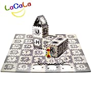 LACALA Children/Kids/Baby Puzzle Play Mat,36pcs White Grey,Train,Numbers,Letters/alphabets70.86 x 70.86""