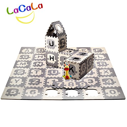 LACALA Children/Kids/Baby Puzzle Play Mat,36pcs White Grey,Train,Numbers,Letters/alphabets70.86 x ()