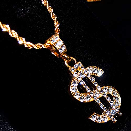 45dcc7992d03e TUOKAY direct 18K Gold Rope Chain for Men with Dollar Sign Pendant Iced Out  Necklace for Rapper, Sparkling Dollar Symbol Gold Chain for Rap Gangsta, ...