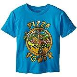Teenage Mutant Ninja Turtles Big Boys' Pizza T-Shirt Shirt, Blue, X-Large/ 18