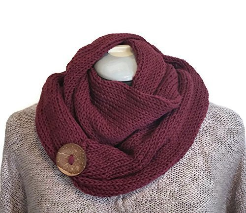 Burgundy Handmade Knit Infinity Merino Wool Cowl Scarf Coconut Button
