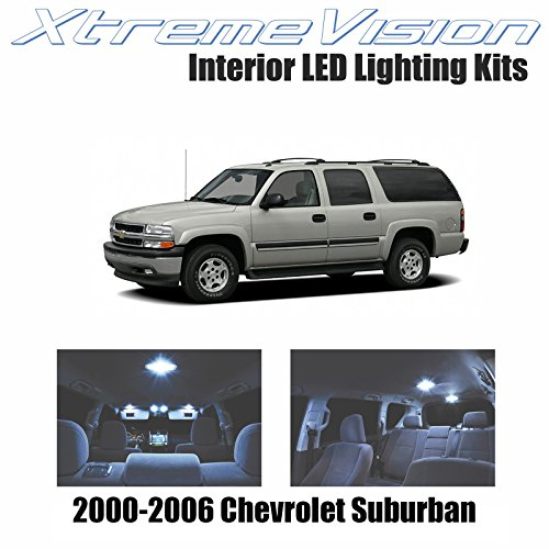 - XtremeVision Chevy Suburban 2000-2006 (14 Pieces) Cool White Premium Interior LED Kit Package + Installation Tool