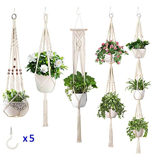 JES&MEDIS 5-Pack Macrame Plant Hangers w/ 5 Hooks, Different Tiers, Handmade Cotton Rope Hanging Planters Set Flower Pots Holder Stand, for Indoor Outdoor Boho Home Decor