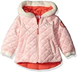 Image of U.S. Polo Assn. Baby Girls' Quilted Faux Fur Jacket, English Rose, 12 Months
