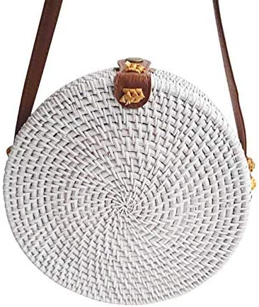 Timall Handwoven Round Rattan HandBag ShoulderStraps Women Straw Bag Round Purse Circle Tropical Beach Crossbody Bag with Cotton Fabric Inside and Cross Clasp Crossbody Bags
