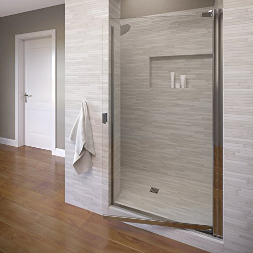 Silver Pivot Shower Door - Basco Armon 31.75 to 33.25 in. width, Semi-Frameless Pivot Shower Door, AquaglideXP Clear Glass, Silver Finish