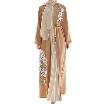Masoness Mode Frauen Elegante Blume Reine Farbe Moslemische Lose Lange Robe Strickjacke Mit Gürtel