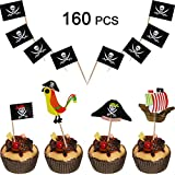 160 Pieces Pirate Cake Cupcake Toppers Food Picks Set for Party Decorations Including 100 Pieces Pirate Toothpicks and 60 Pieces Pirate Cupcake Toppers for Boy's Birthday Party, Baby Shower