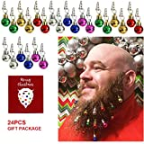 Beard Ornaments,24PCS Colorful Christmas Beard Baubles Ornaments Facial Ornament for Men, Santa Claus Beard Clip, Easy Attach Mini Mustache,Best Gift for Christmas Decorations Holiday Decoration