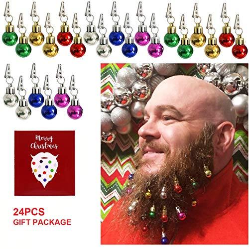 Beard Ornaments,24PCS Colorful Christmas Beard Baubles Ornaments Facial Ornament for Men, Santa Claus Beard Clip, Easy Attach Mini Mustache,Best Gift for Christmas Decorations Holiday Decoration