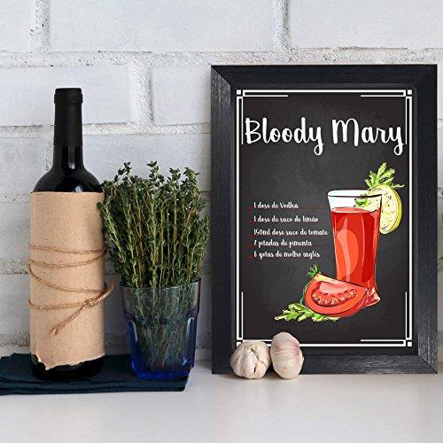 Quadro Bebida Bloody Mary 22x32cm Moldura Preta
