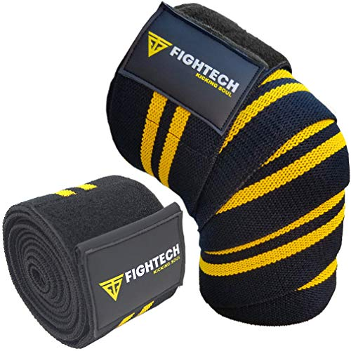 "FIGHTECH Knee Wraps for Weightlifting | Men & Women | Bodybuilding Knee Squat Wraps | 78"" Long Knee Straps for Compression & Elastic Support During Leg Presses, Cross Training Gym Workout 