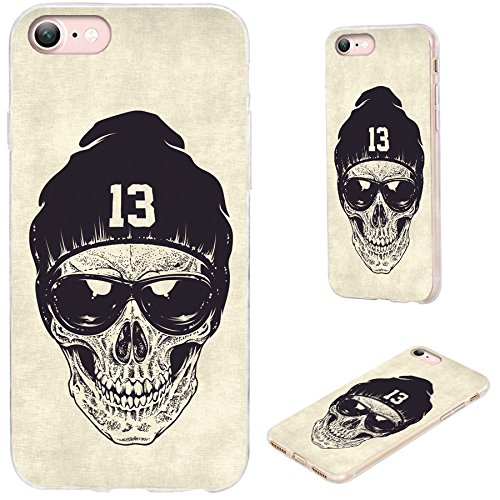 (iPhone 8 Case,iPhone 7 Case,VoMotec [Cute Series] Shockproof Anti-Scratch Slim Flexible Soft TPU Protective Skin Cover Case for Apple iPhone 7 8 4.7 inch,dotwork Skull Modern Street Style Sunglasses)
