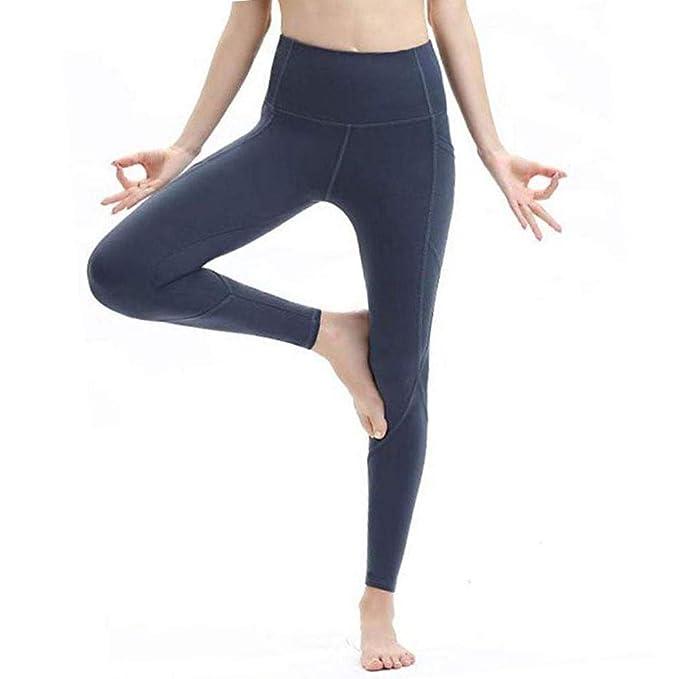 Tauser Moda para Mujer Cintura elástica Alta Sólido Bolsillo Fitness Yoga Leggings Leggings