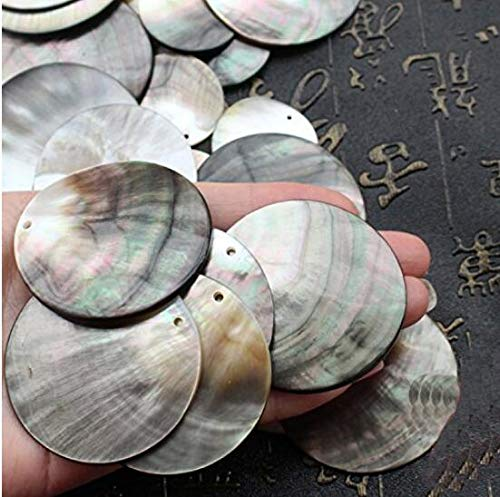 Fusheng 20Pcs/Lot Natural Black Round DIY Shell Beads for Jewelry Making Findings Seashell Materials to Make Fashion Earrings Necklaces 15mm/20mm/25mm/35mm (35MM)