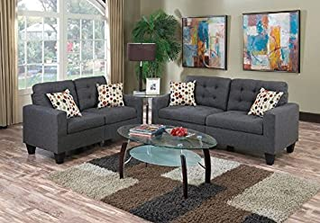 Outstanding Poundex Sectional Set Blue Grey Pdpeps Interior Chair Design Pdpepsorg
