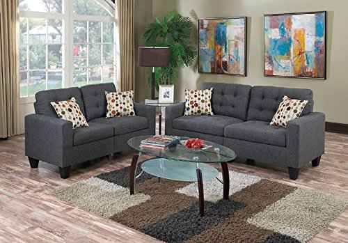 Poundex Sectional Set, Blue Grey